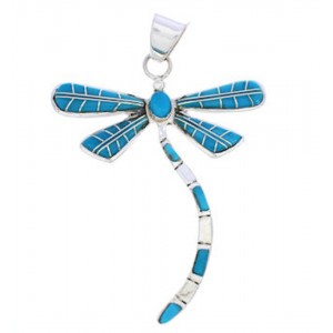 Dragonfly Turquoise Inlay Sterling Silver Jewelry Pendant MX24029