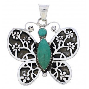 Butterfly Flower Turquoise Sterling Silver Pendant MX24074