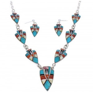 Silver Southwest Jewelry Multicolor Earrings Link Necklace Set PX36873