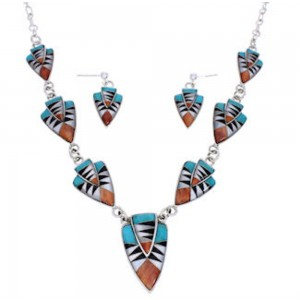 Authentic Silver Jewelry Multicolor Link Necklace Earrings PX36888