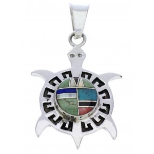 Multicolor Inlay Southwest Sterling Silver Turtle Pendant EX28657
