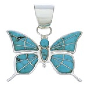 Turquoise Southwest Jewelry Sterling Silver Butterfly Pendant EX28688