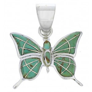 Sterling Silver Southwestern Turquoise Butterfly Slide Pendant EX28711