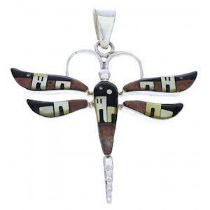 Southwest Multicolor Native American Design Dragonfly Pendant EX28721