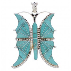 Southwestern Sterling Silver Turquoise Inlay Butterfly Pendant AX23516