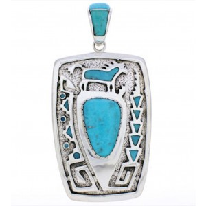 Turquoise Water Wave Horse Sterling Silver Pendant Jewelry AX23615