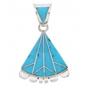 Turquoise Inlay Genuine Sterling Silver Pendant Jewelry EX28547