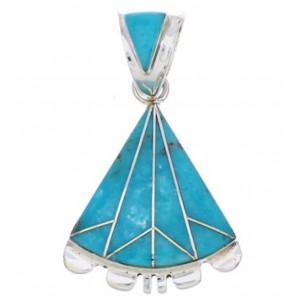 Genuine Sterling Silver Slide Pendant Turquoise Inlay Jewelry EX28548