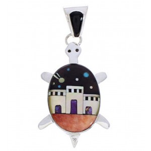 Native American Village Design Turtle Multicolor Pendant MW77641