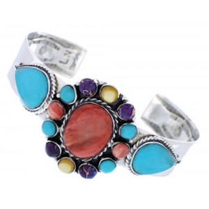 Turquoise Multicolor Jewelry Sterling Silver Cuff Bracelet MX27679