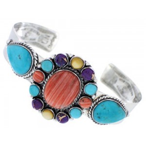 Turquoise Multicolor Jewelry Sterling Silver Cuff Bracelet MX27686