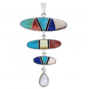Multicolor Turquoise and Silver Pendant PX23963