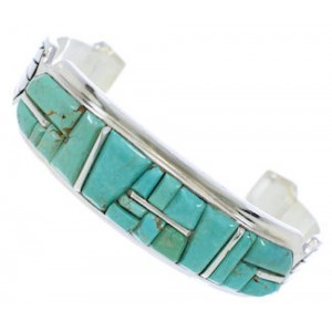 Turquoise Inlay Sterling Silver Jewelry Cuff Bracelet MX27334