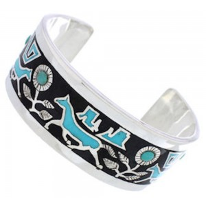 Southwestern Turquoise Jet Inlay Horse Flower Silver Bracelet CX49619