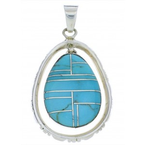 Turquoise And Sterling Silver Southwest Jewelry Pendant PX30123