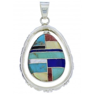 Southwestern Multicolor And Silver Pendant PX30127