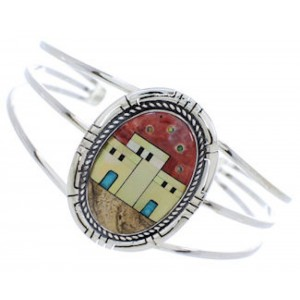 Multicolor Silver Native American Village Design Cuff Bracelet MX27457