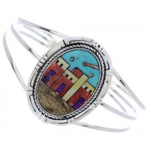 Native American Village Design Multicolor Cuff Bracelet MX27460