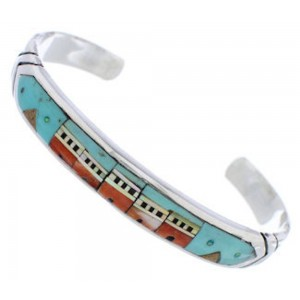 Native American Village Design Multicolor Silver Bracelet MX27569