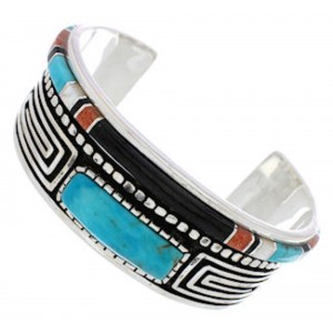 Sterling Silver Water Wave Multicolor Jewelry Cuff Bracelet MX27532