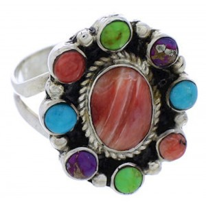 Turquoise Multicolor Authentic Sterling Silver Ring Size 6 JX37844