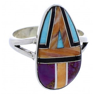 Silver Multicolor Inlay Ring Size 7-1/2 JX37871