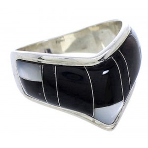 Black Jade Mother Of Pearl Sterling Silver Ring Size 7-1/2 JX37782