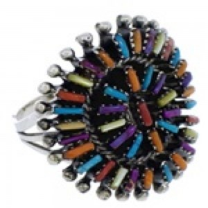 Multicolor Needlepoint Silver Southwestern Ring Size 6 VX56763