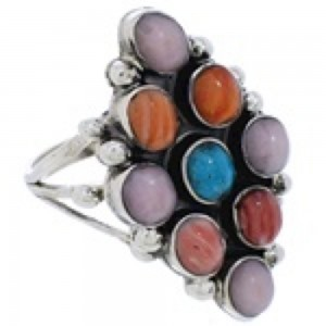 Multicolor And Sterling Silver Jewelry Ring Size 6-3/4 VX56782