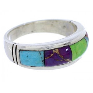 Multicolor Southwestern Sterling Silver Ring Size 8-1/2 EX51000