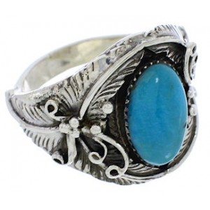 Sterling Silver Turquoise Southwest Ring Size 12-1/2 EX51108