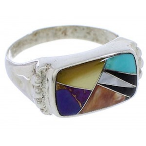 Silver Multicolor Southwest Inlay Ring Size 7-3/4 JX38086