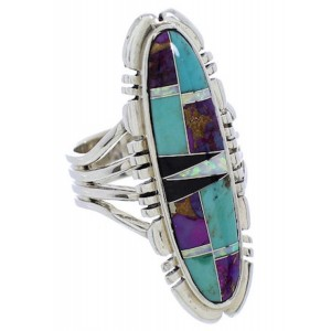 Turquoise Genuine Sterling Silver Multicolor Ring Size 6-1/4 JX38227