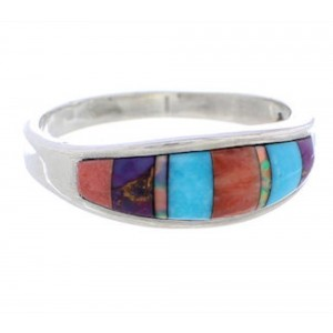Southwest Authentic Sterling Silver Multicolor Ring Size 8-3/4 CX50672