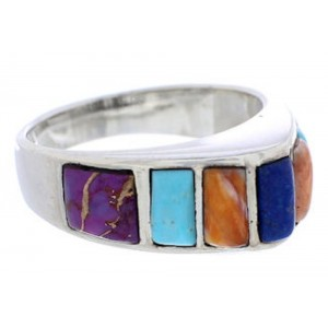 Multicolor Authentic Sterling Silver Southwest Ring Size 6-1/2 CX50867