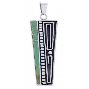 Southwest Sterling Silver Turquoise Inlay Pendant EX30697