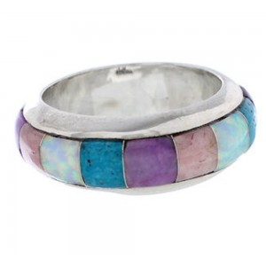 Turquoise Multicolor Inlay Silver Ring Band Size 6-1/2 HS35722