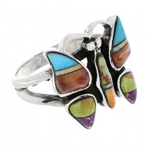 Multicolor Southwestern Silver Butterfly Ring Size 6 EX61246