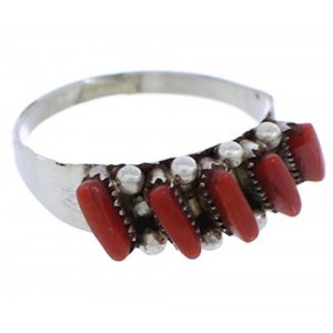 Zuni Indian Jewelry Coral Needlepoint Silver Ring Size 6-1/4 EX24253