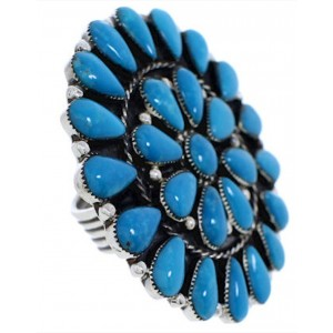 Turquoise Large Statement Jewelry Silver Ring Size 6-3/4 YX35977