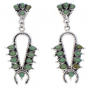 Squash Blossom Turquoise Earrings Silver Southwestern Jewelry JX23024