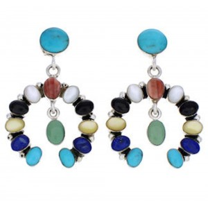 Multicolor Naja Earrings Sterling Silver Southwest Jewelry JX23042