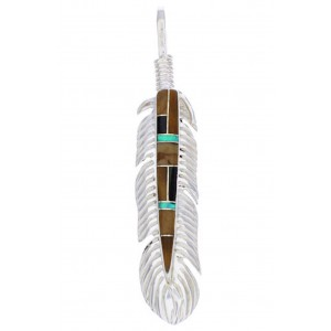 Multicolor And Sterling Silver Feather Pendant EX29718