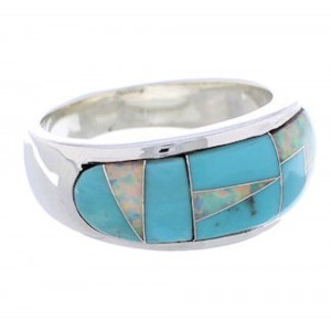 Opal And Turquoise Southwest Sterling Silver Ring Size 7-3/4 CX50063