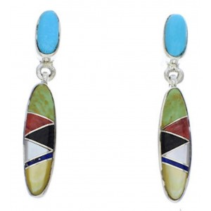 Multicolor Post Dangle Turquoise Inlay Earrings PX24215