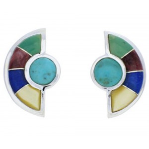 Southwestern Silver and Turquoise  Multicolor Post Earrings PX24222