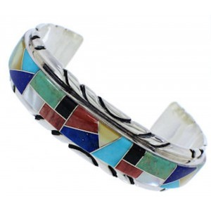 Southwest Sterling Silver Multicolor Inlay Cuff Bracelet FX27548