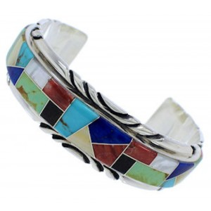 Sterling Silver Multicolor Inlay Southwest Cuff Bracelet FX27550