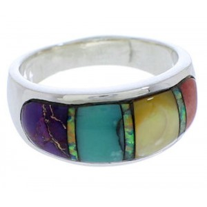 Multicolor Inlay Genuine Sterling Silver Ring Size 6-3/4 EX50596