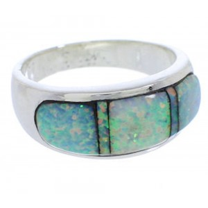 Opal Inlay Genuine Sterling Silver Ring Size 6-3/4 EX50605